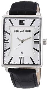 Ted Lapidus - 5114103 - Montre Homme - Quartz Analogique - Cadran Blanc - Bracelet Cuir Noir