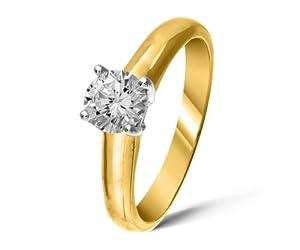 Exclusive 18 ct Gold Ladies Solitaire Engagement Diamond Ring Brilliant Cut 0.50 Carat DEF-SI2 Size J