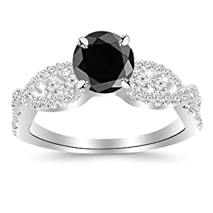 2.6 Carat Designer Twisting Eternity Channel Set Four Prong Diamond Engagement Ring 14K White Gold with a 2 Carat Round Cut AAA Quality Black Diamond (Heirloom Quality)