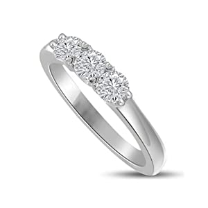 Ladies 0.30ct Round Brilliant Cut Diamond Trilogy Ring ,colour G & VS1 clarity in 18ct white gold - N 1/2