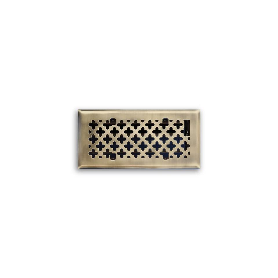 Truaire C165 RAB 04X12(Duct Opening Measurements) Decorative Floor Grille 4 Inch by 12 Inch Retro Couture Floor Diffuser, Antique Brass Finish