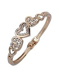 Amybria Charming Rose Gold Plated Lovely Heart Crystal Bangle Bracelet for Women