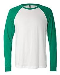 Bella 3000 Mens Jersey Long Sleeve Baseball Tee - White & Kelly, 2XL