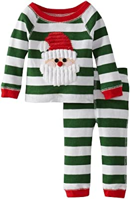 Green and White Santa Baby Boy Christmas Pajamas by Mud Pie