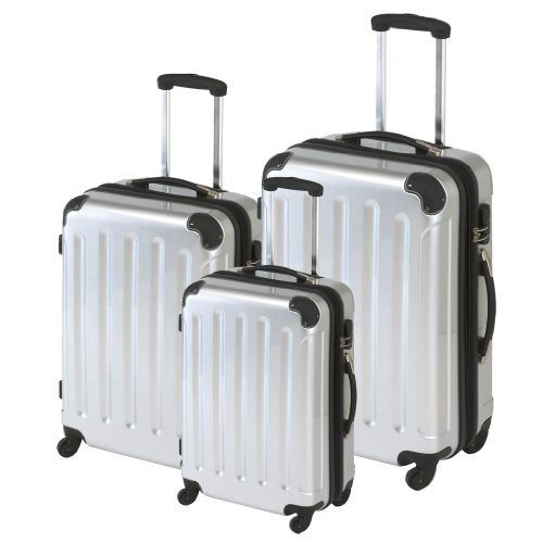3-teiliges Polycarbonat-Trolley-Koffer-Set in silber