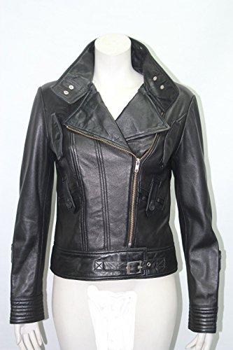 Jessica Kurze Biker -Stil Damen weichen schwarzen Nappa -Lederjacke Einbau