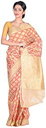 Sree Howrah Stores Women's Silk Saree with Blouse Piece (Off-White)