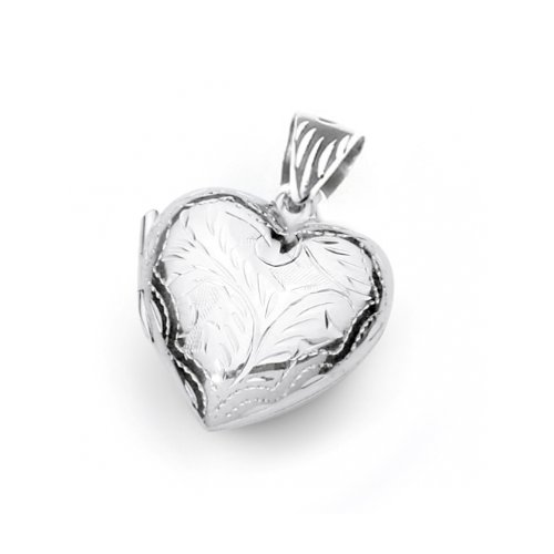 Sterling Silver Four Way Engraved Heart Locket