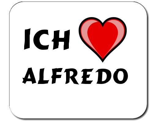 Mauspad mit Aufschrift Ich liebe Alfredo (Vorname/Zuname/Spitzname)