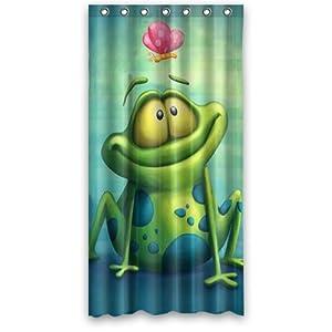"Custom Waterproof Fabric Bathroom Shower Curtain Frog 36""(w) x 72""(h)"