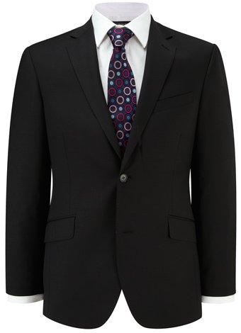 Austin Reed Contemporary Fit Black Semi Plain Jacket LONG MENS 42