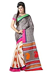 RGR Enterprice Woman's Bhagalpuri Designer Saree (INDIRA BHAGALPURI_Multi-Coloured_Free Size)