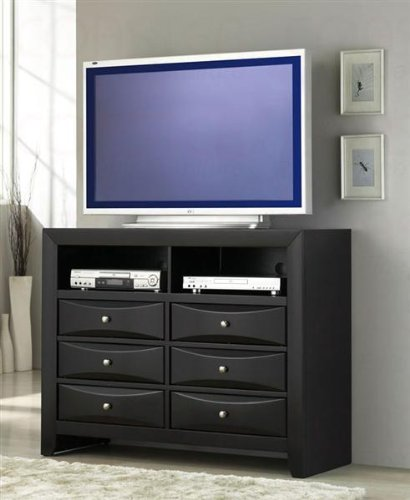 TV Dresser Stand with Brushed Chrome Accents in Glossy Black Finish