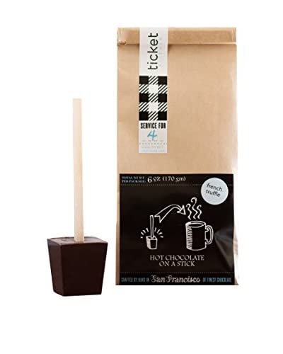 Ticket Chocolate Set of 4 French Dark Truffle Hot Chocolate on a Stick