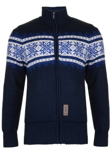 Mens 'CrossHatch' Fleece Lined Zip Up Knitted Jumper Cardigan With Snowflake Design. Style Name - Falun. In Navy Size - medium
