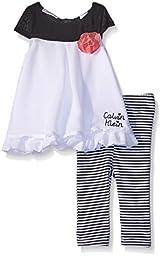 Calvin Klein Baby-Girls Chiffon Overlay White Tunic and Printed Jersey Leggings, Black/White, 3-6 Months