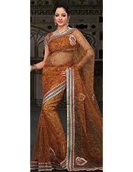 Utsav Fashion Women's Mustard Shimmer Net Saree With Blouse - B00IYIKK64