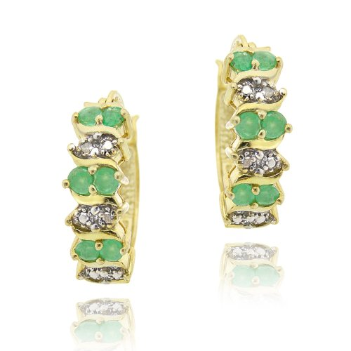 18K Gold over Sterling Silver Emerald & Diamond Accent Hoop Earrings