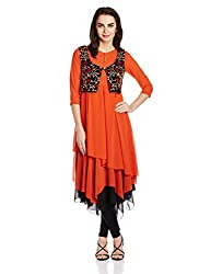 Rain and Rainbow Women's Straight Kurta (560-02_ORANGE_small)