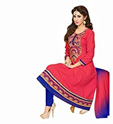 Varibha Women's Branded Indian Style Cotton Pink Salwar Suit Dress Material ( Best Gift For Mom, Wife, Sister )