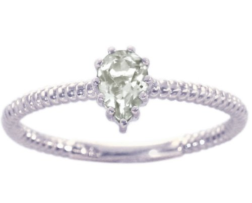 14K White Gold Pear Gemstone Solitaire Stackable Ring-White Topaz, size7.5