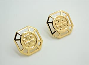 Double T Style Gold Plated Square Big Stud Earrings with Gift Box (Free shipping)