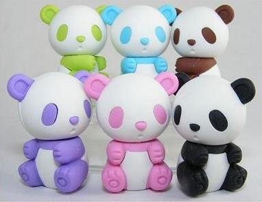 Iwako Set Of 6 JAPANESE PANDA PUZZLE ERASER