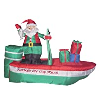 8 Foot Long Christmas Inflatable Santa Claus Fishing on Boat Yard Decoration