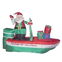 8 Foot Long Christmas Inflatable Santa Claus Fishing on Boat Yard Decoration