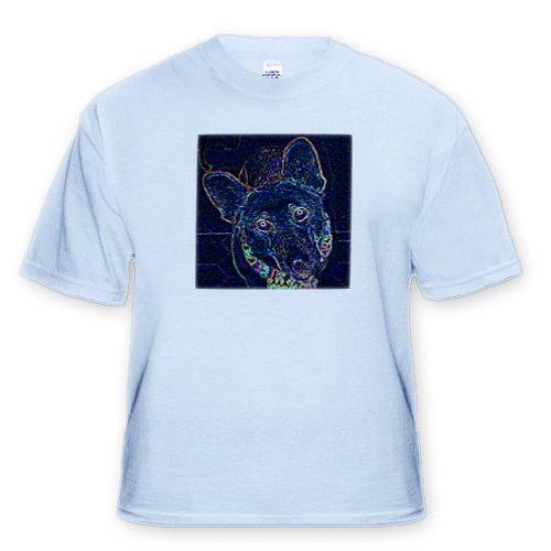 German Shepherd in Neon Glow - Youth Light-Blue-T-Shirt Med(10-12)