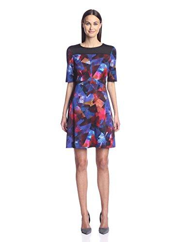 Maggy London Women's Printed Shift Dress, Black/Fuchsia, 10