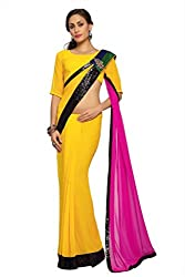 Anvi Yellow faux georgette designer saree with unstitched blouse (1512)