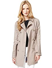 Autograph Linen Blend Double Breasted Trench Coat with Belt