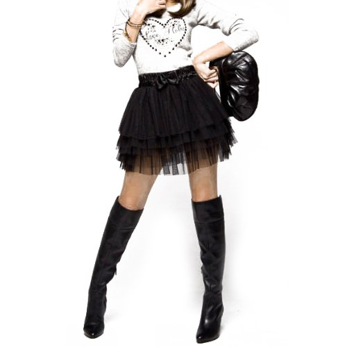 Black, Five Layered Mini Skirt. Ideal for 1980s and Madonna style dress-up. One size with elastic waist.