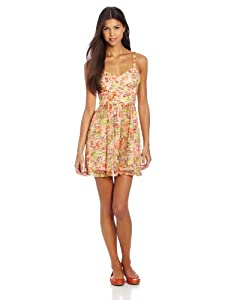 As U Wish Juniors Printed Lace Corset Dress