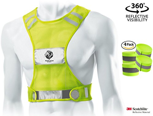 BEST REFLECTIVE RUNNING VEST for Athletic Men & Women, Premium 3M Safety Bands for High Visibility and Comfort, Protect Yourself While Running, Walking, & Cycling! (Nox Running Lights compare prices)