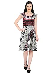 Woodin Round Neck Graphic Print Knee long Dress for Women