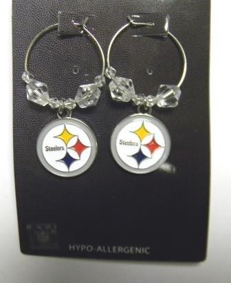 Pittsburgh Steelers Beaded Hoop Dangle Earrings from SteelerMania