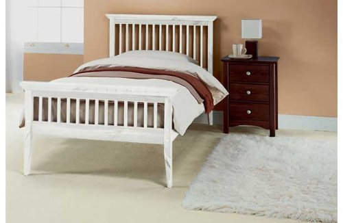 Single Shaker wooden bedframe + tanya mattress - WHITE