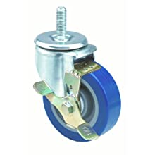 "E.R. Wagner Americaster Stem Caster, Swivel with Strap Brake, Dust Cover, Polyurethane on Polyolefin Wheel, Delrin Bearing, 275 lbs Capacity, 4"" Wheel Dia, 1-1/4"" Wheel Width, 5"" Mount Height, 1/2"" Stem Dia, 1-1/2"" Stem Height"
