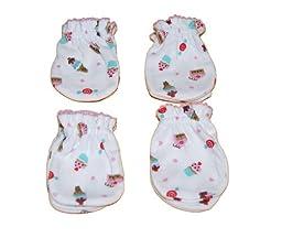 4 Pairs Cotton Newborn Baby/infant Girl\'s No Scratch Mittens Gloves 0-3 Months