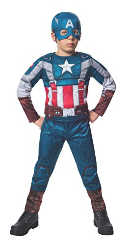 Rubies Marvel Comics Collection: Captain America: The Winter Soldier Fiber-Filled Retro Suit Captain America Costume, Child Large