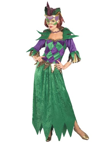 Gown in Mardi Gras colors