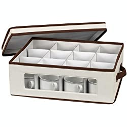 Household Essentials Coffee or Tea Cup Storage Chest, Natural Canvas with Brown Trim