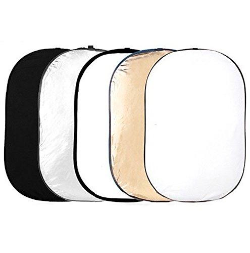 """Phot-R PRO 100x150cm (40""""x60"""") Studio Réflecteur de Lumière 5 en 1 Or, Argent, Noir, Blanc, et Translucide"""