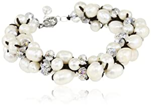 Bronze White Crystal and Freshwater Pearl Strand Bracelet, 7.5+1