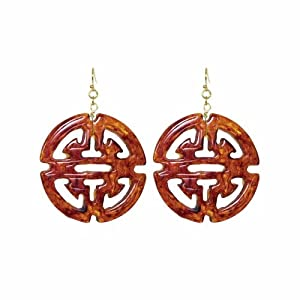 Towne And Reese Tortoise Jillian Resin Medallion Earrings