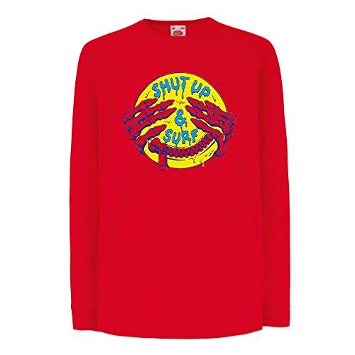 Bambini t-shirt con maniche lunghe accessori surf abbigliamento surf i regali (5-6 years Rosso Multicolore)