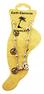 Silver Peace Sign Dangle Anklet - Huntington Beach Anklet [Jewelry]