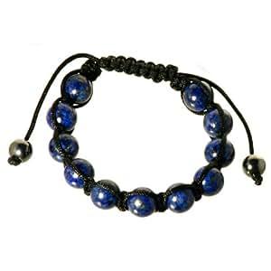 Bella Carina Shamballa Armband - Lapis Lazuli - mit 11 Kugeln aus Lapislazuli und 2 Endperlen aus Hämatit .